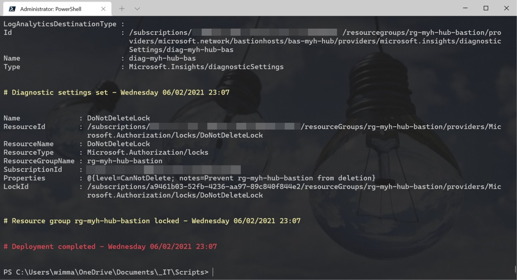 Azure Bastion: Azure PowerShell deployment script